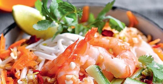 Salade de nouilles aux crevettes façon boboun