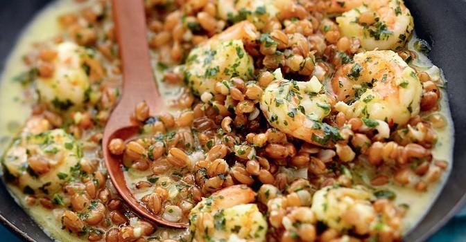Épeautre aux crevettes façon risotto
