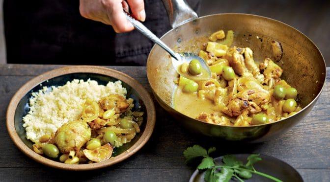 Poulet aux olives, citrons et amandes