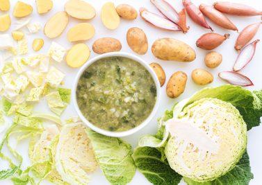 Soupe de chou vert à l'échalote